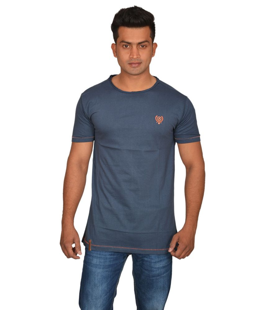 Doublef Blue Round Neck Cotton T-shirt