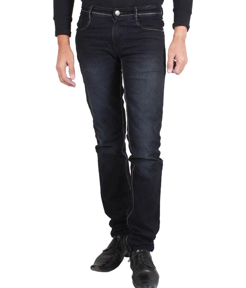 Jack Berry Black Regular Fit Faded Cotton Jeans For Men