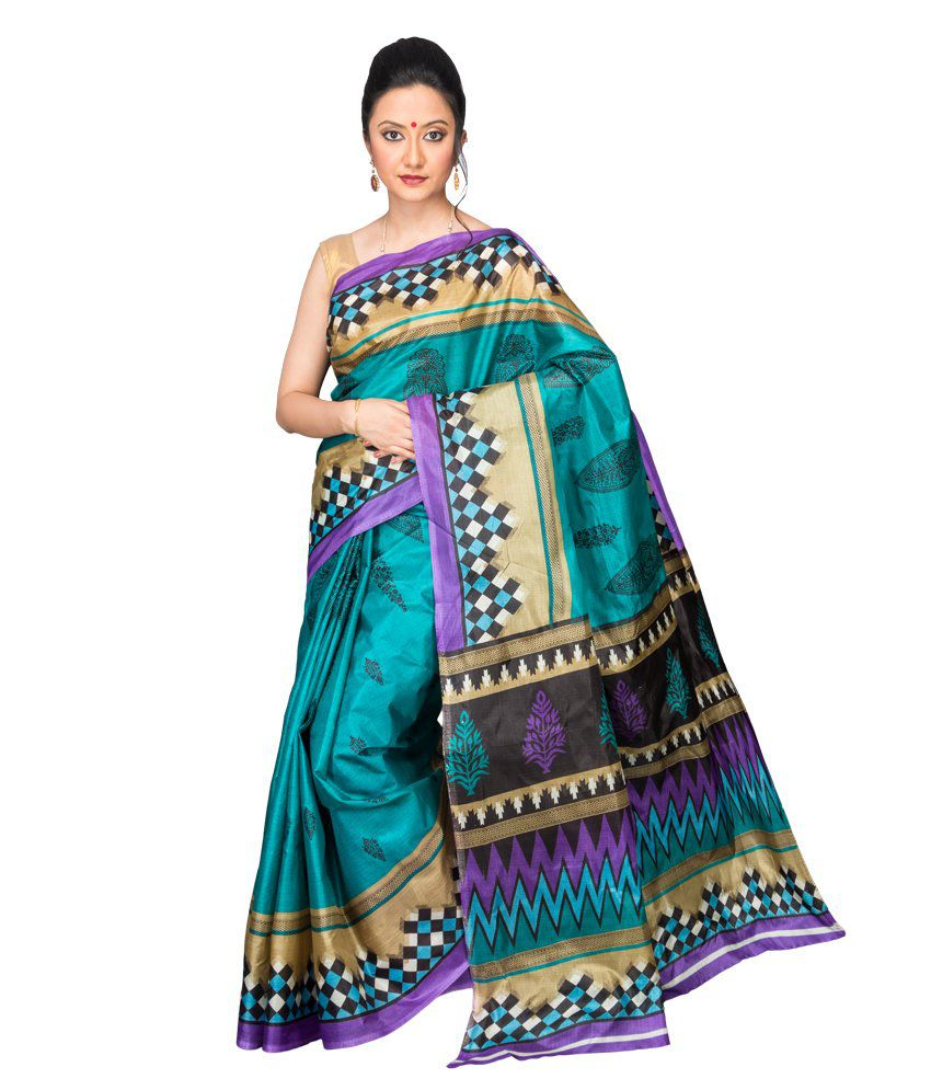 Korni Blue Polycotton Saree