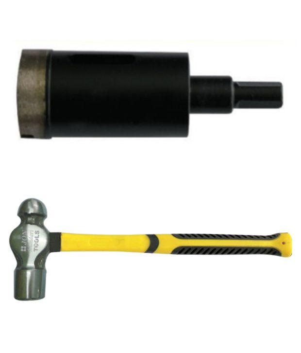 Jon Bhandari Core Bit Diamond Heavy Duty Black Finish And Ball Pein Hammer 16 Oz
