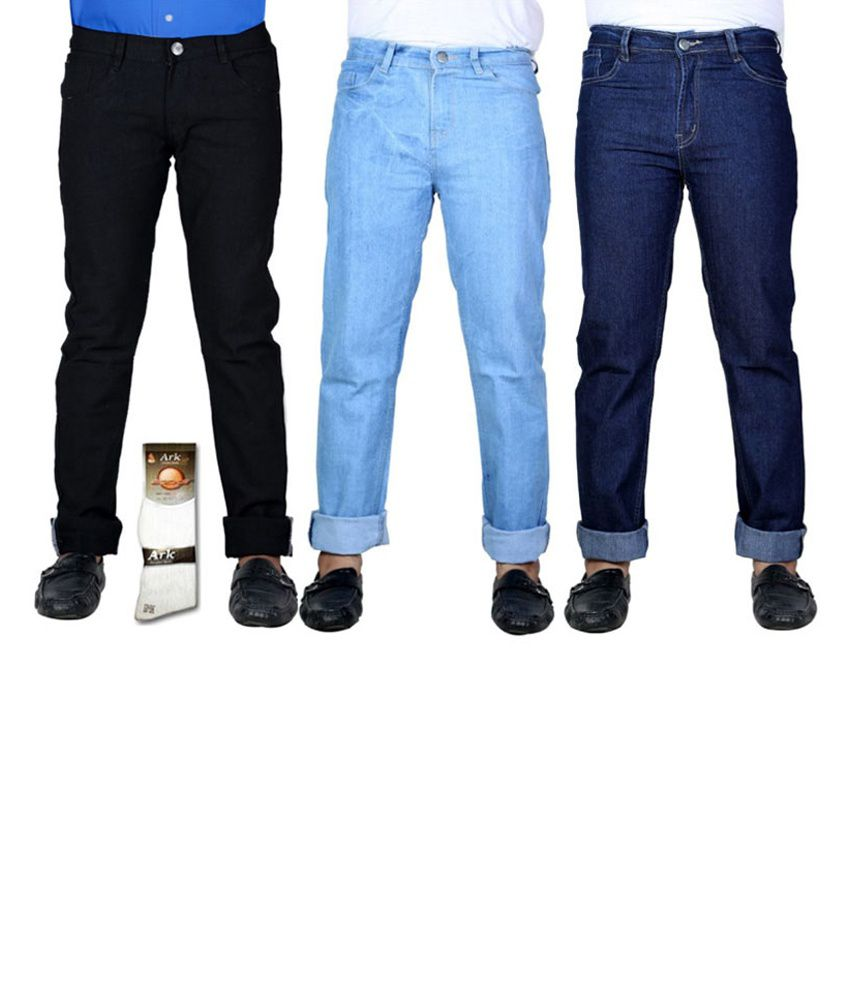 Haltung  Multicolor Cotton Basic Denim Jenas - Combo Of 3