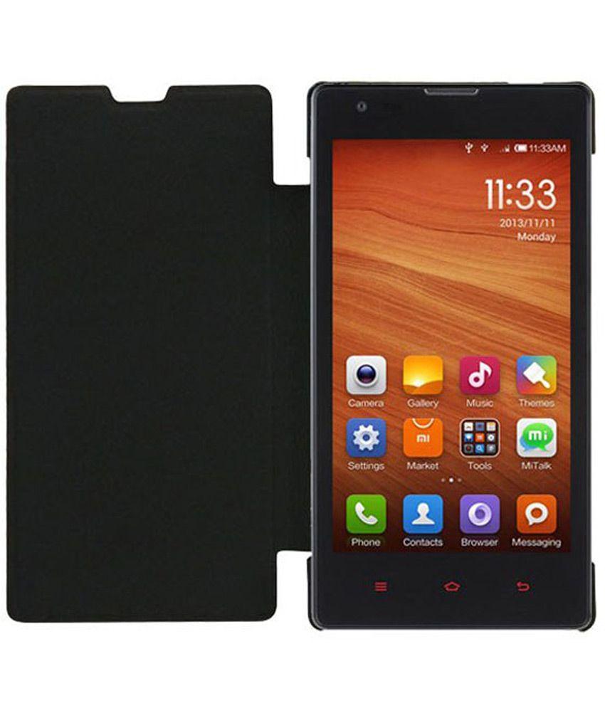 Jmd Flip Flap Case For Xiaomi Redmi 1s Mobile Front Back Cover Grey Black