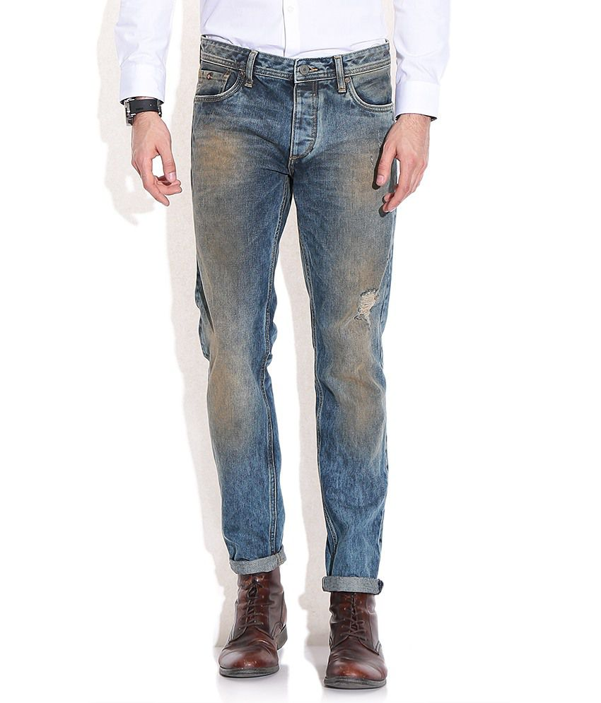 Jack & Jones Blue Cotton Slim Jeans