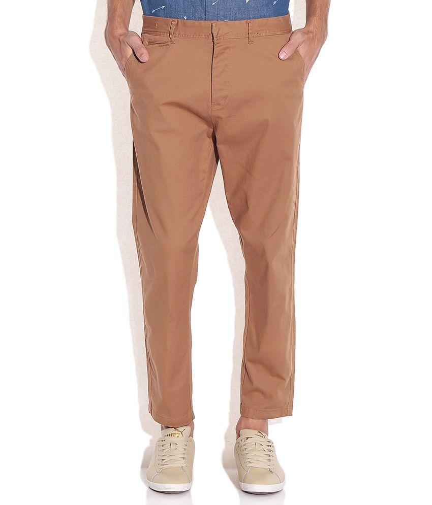 Jack & Jones Brown Cotton Trousers