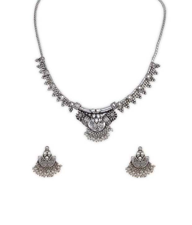 Silverwala 925 Silver Oxidised Necklace Sets