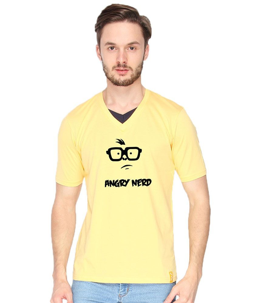 Campus Sutra Angry Nerd Yellow & Black Graphic T Shirt