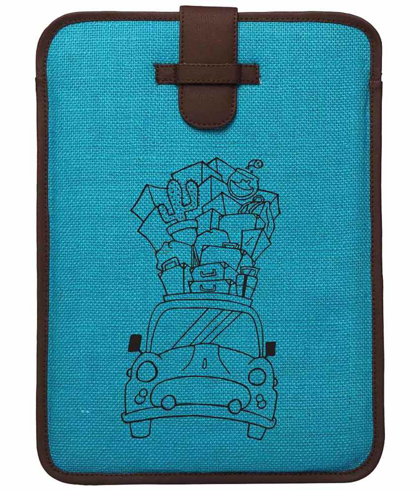 Campus Sutra Blue & Brown Laptop Sleeve