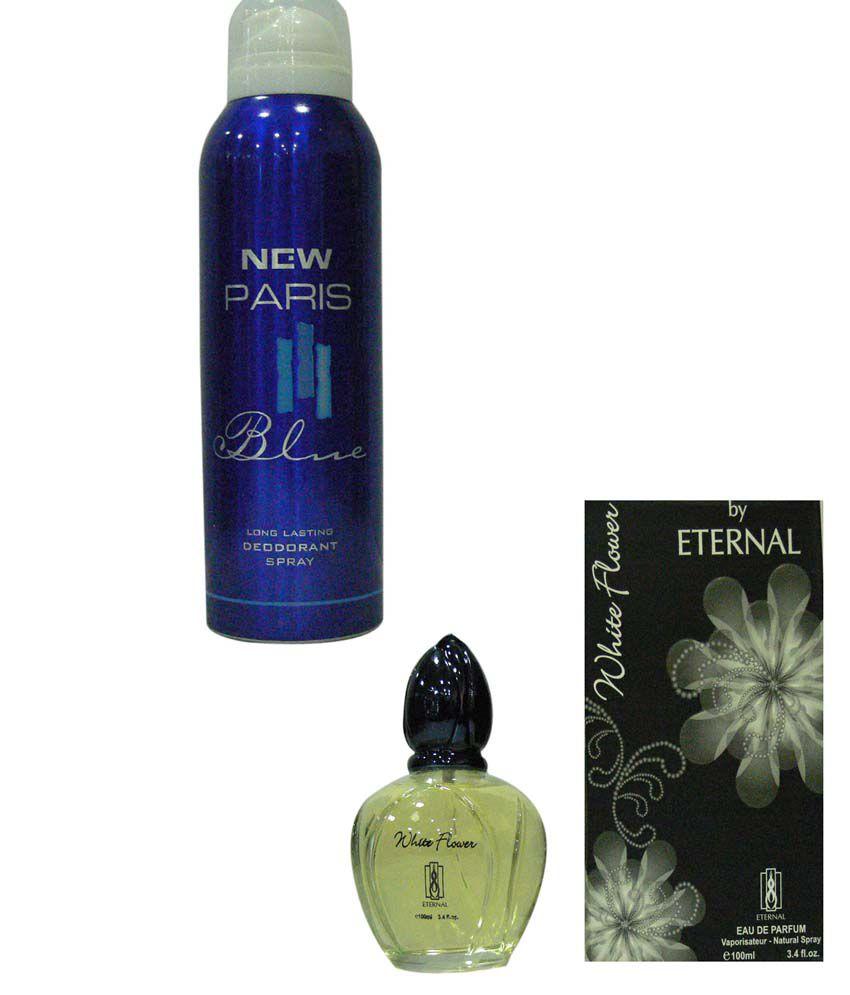 Eternal Combo Of New Paris Blue Deo Spray For Men And White Flower Perfume For Women