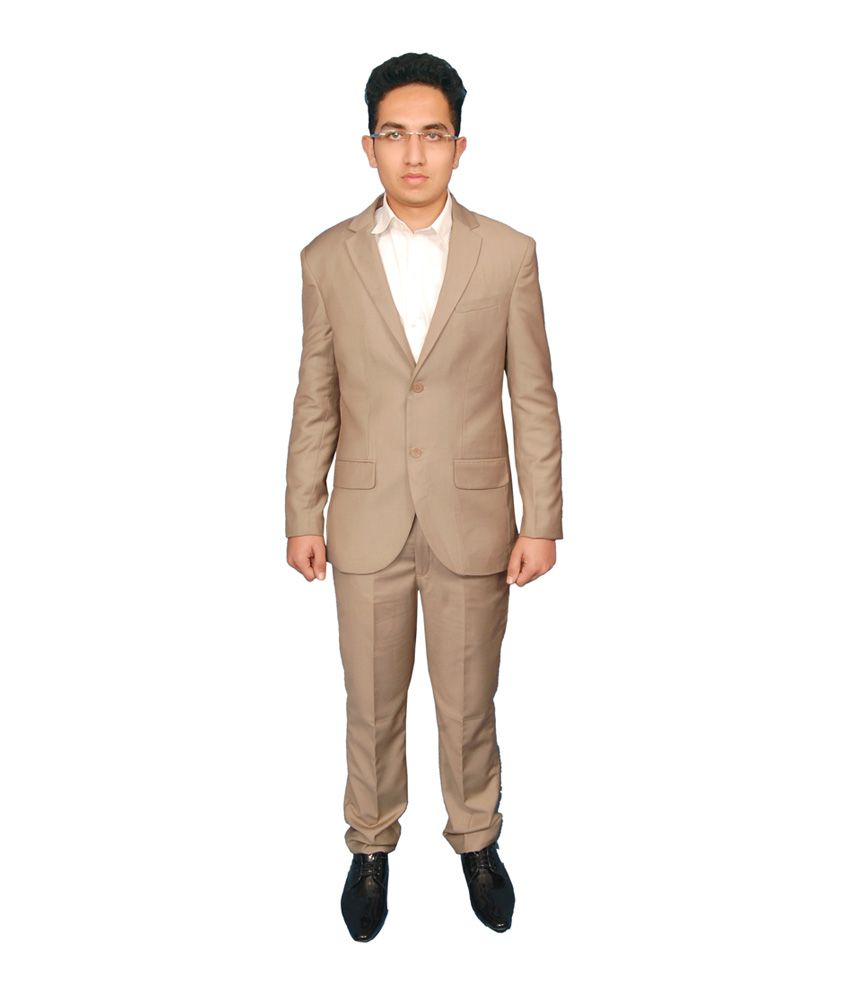 Fashion N Style Solid Poly Blend Beige Formal Suit For Men Buy Fashion N Style Solid Poly