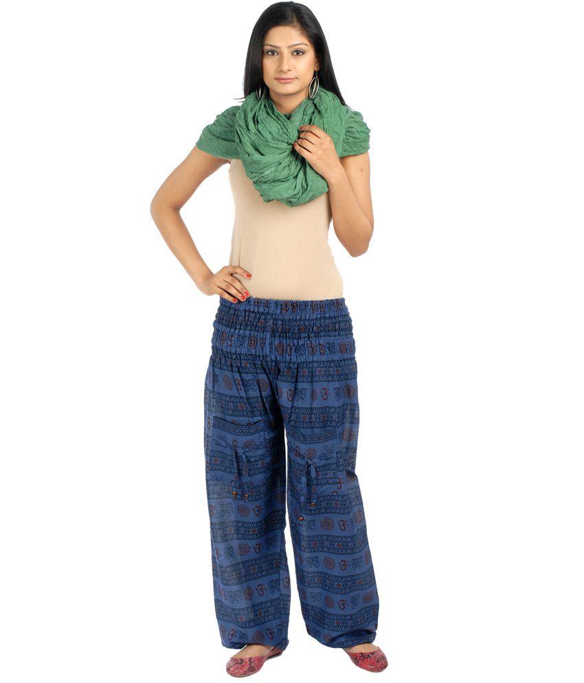 G S Navy Blue Cotton Long Printed Pajama