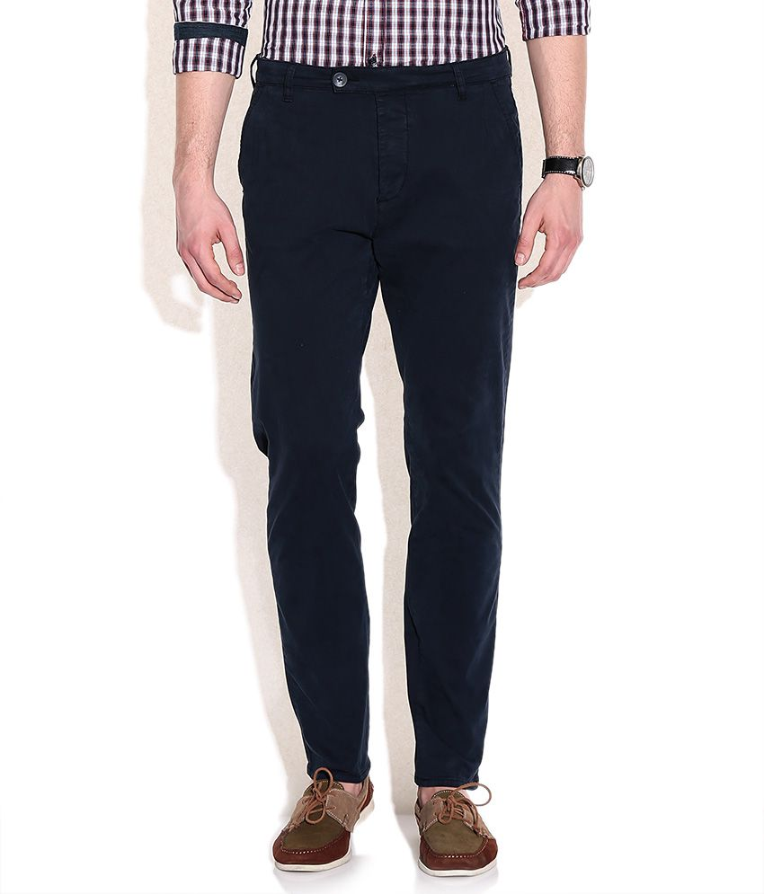 GAS Navy Noley RS Fit Casual Trousers