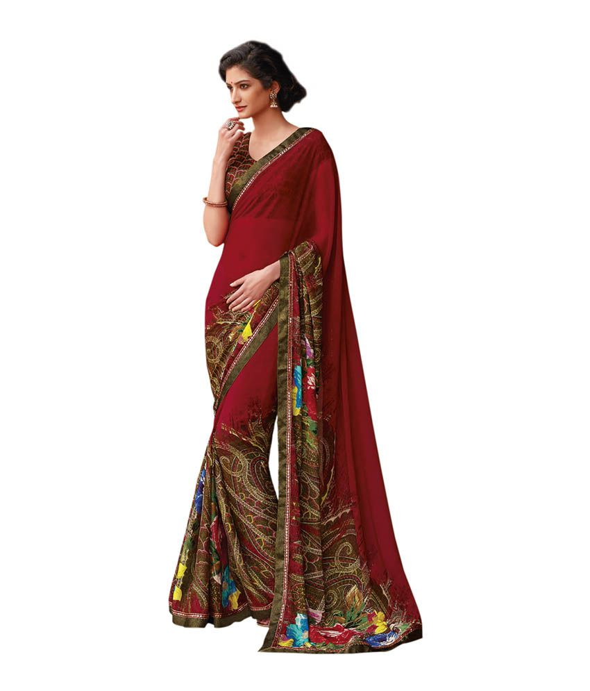 a16e5be5f2 Laxmipati Sarees Brown and Red Faux Georgette Saree - Buy Laxmipati Sarees  Brown and Red Faux Georgette Saree Online at Low Price - Snapdeal.com