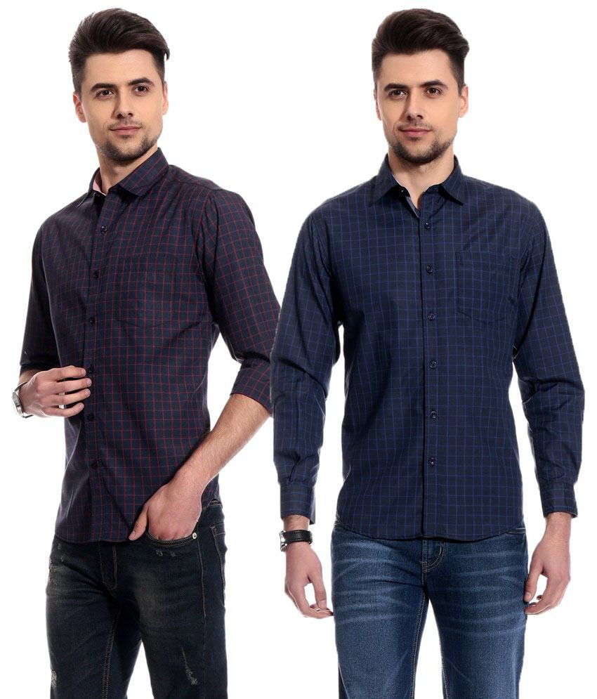 a0507b629f Club Avis Usa Impressive Navy Checks Semi Formal Shirts - Combo Of 2 - Buy  Club Avis Usa Impressive Navy Checks Semi Formal Shirts - Combo Of 2 Online  at ...