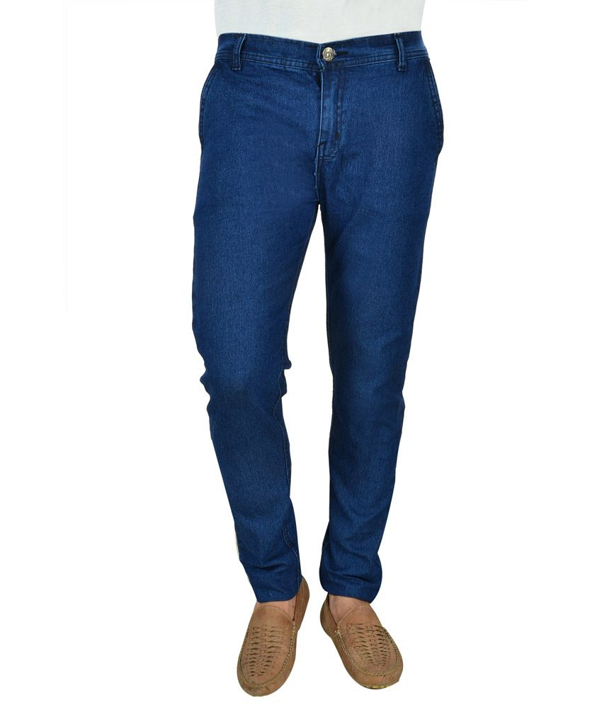 Fashion Blue Cotton Regular Fit Jeans