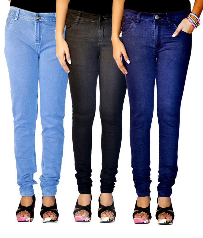 Haltung Faded Multi Color Women Denim Lycra Skinny Fit Jeans Combo ...