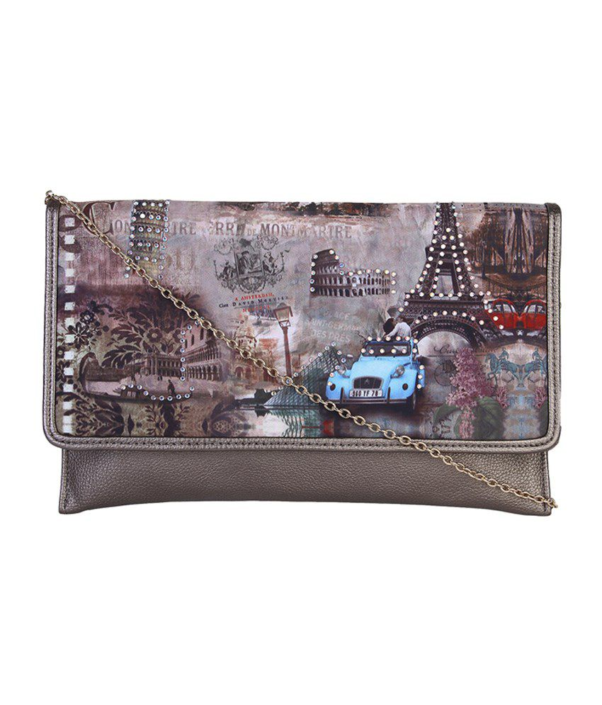 Lino Perros Lwcc00165brown Gray Clutch