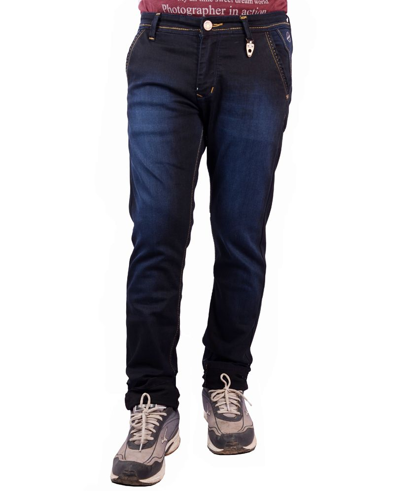 Meghz Navy Cotton Blend Jeans