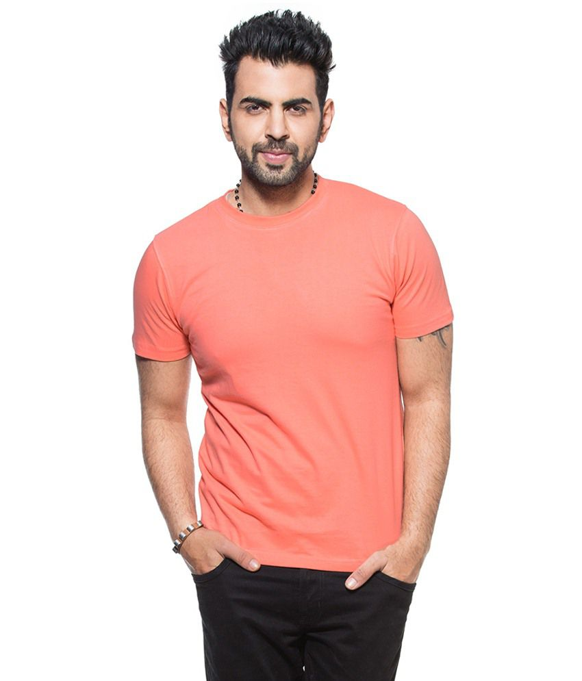 Zovi Peach Puff Basic Round Neck T Shirt