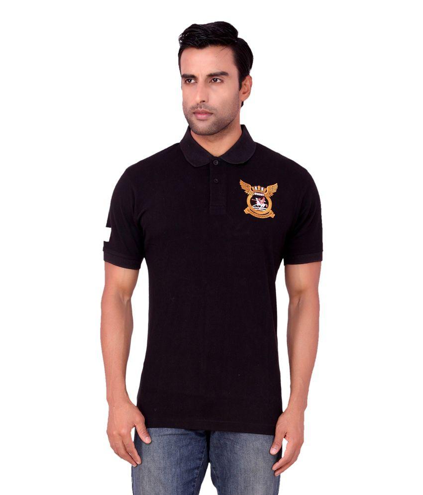 Aliep Black Cotton V-neck Half Sleeves T-shirt