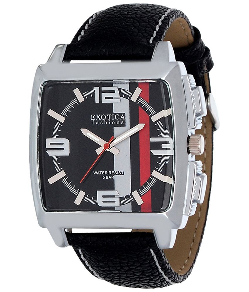 Exotica Fashions Exotica Black Analogue Wrist Watch With Rectangular Dial For Men