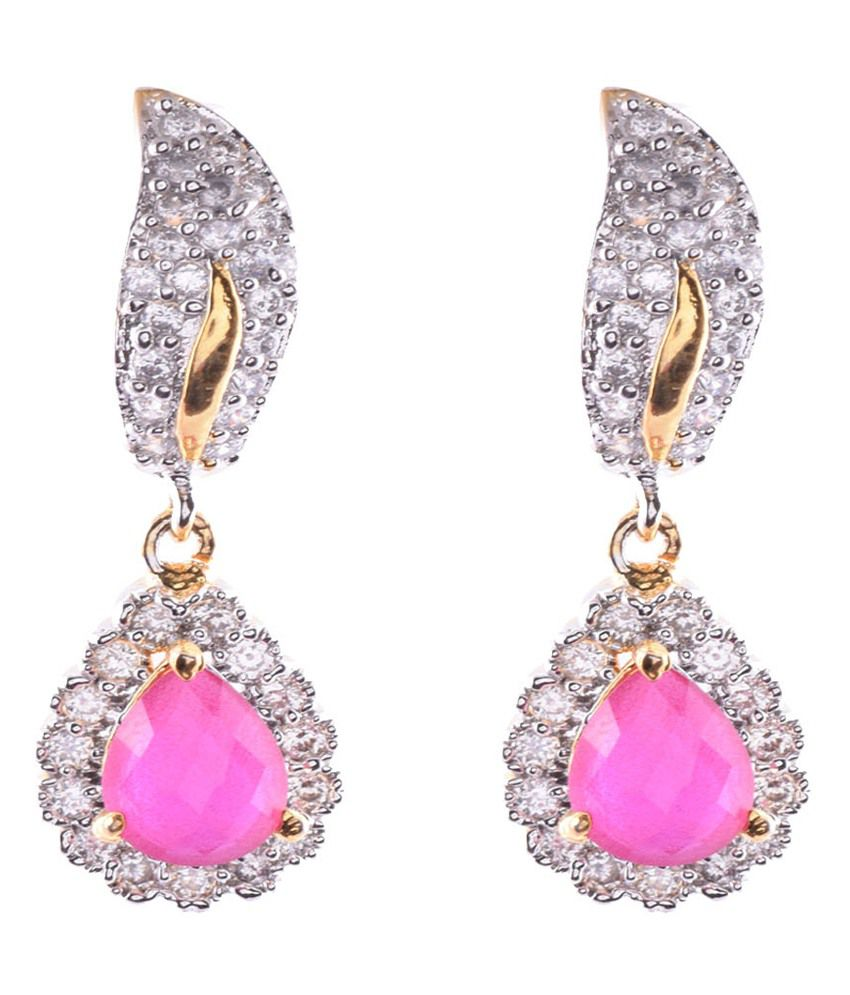 Ganapathy Gems Pink Gold Plated Gold Plated Earing