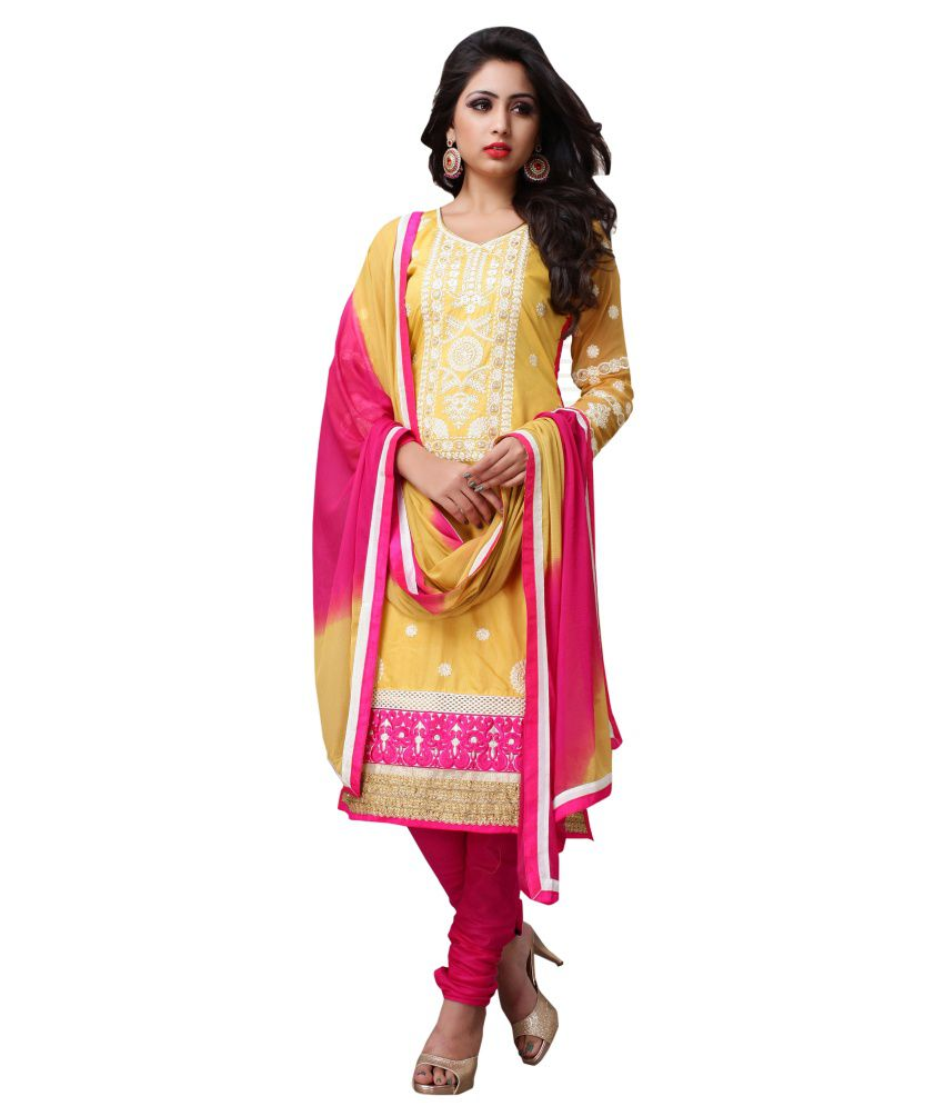 Kashiba Fashion Hub Chanderi Cotton Straight Fit Embroidered Salwar Suit
