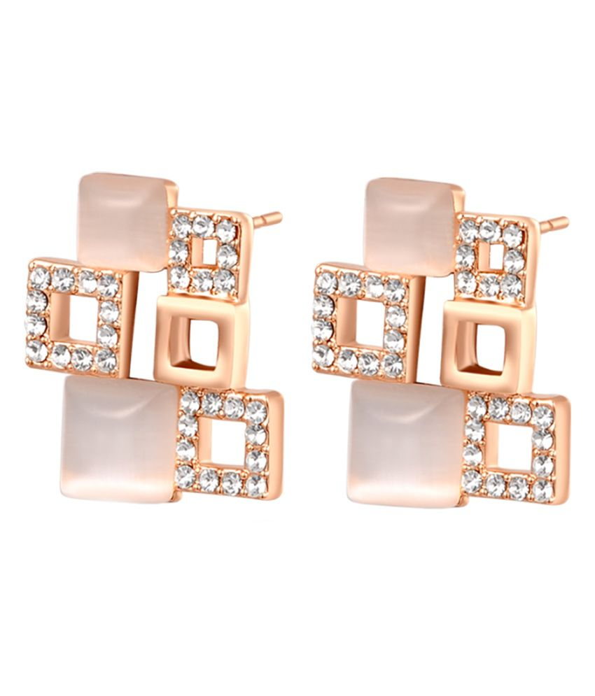 Ornativa Pink Alloy Crystal Stud Earrings For Women