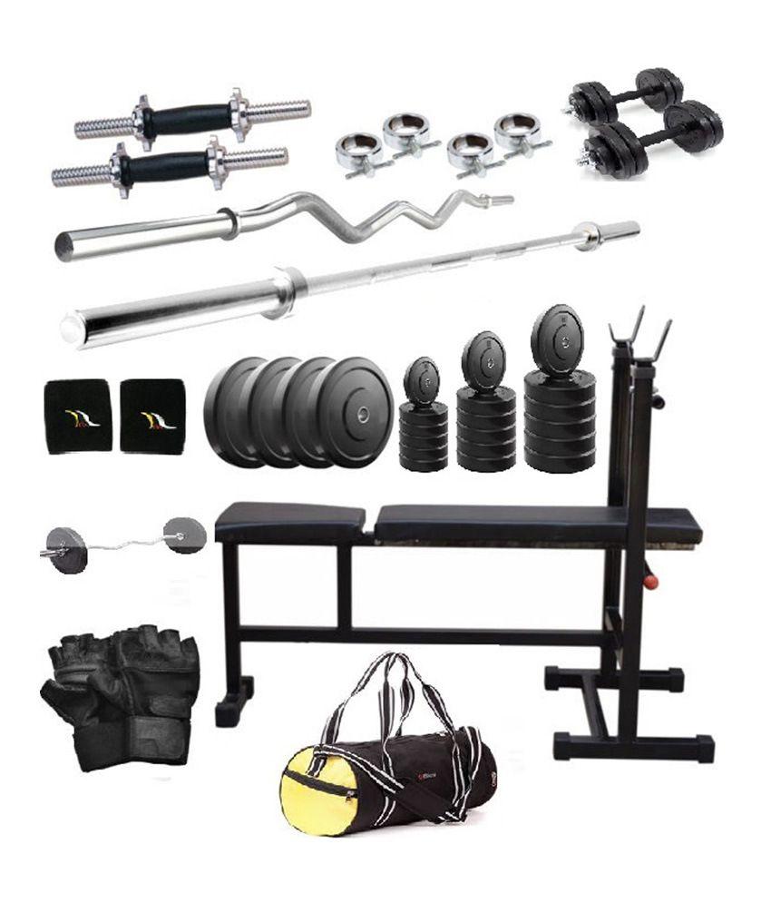 total gym 50 kg home gym set with 2 dumbbell rods 2 rods 3 in 1 bench and gym bag buy online. Black Bedroom Furniture Sets. Home Design Ideas