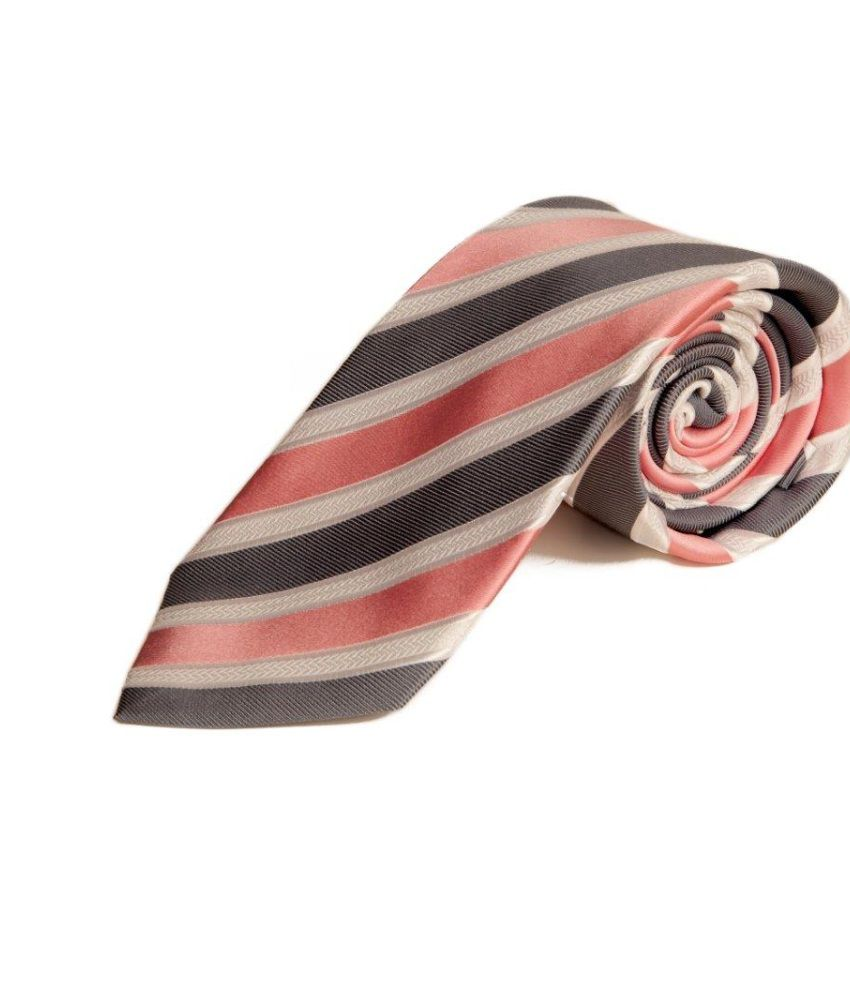 The Vatican Grey, Baby Pink White Stripes Tie