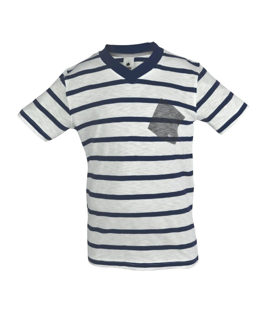 Bio Kid Navy Envelope Neck Stripes Cotton Top