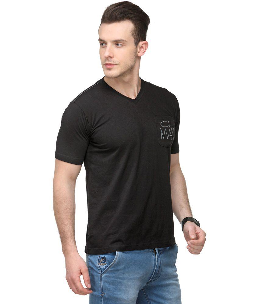 Canary London Black Cotton Half T Shirts