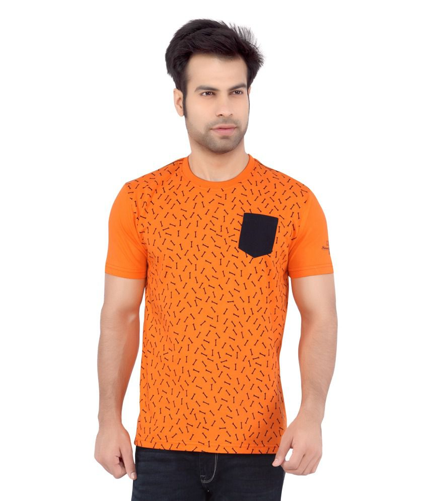 Cod jeans orange printed cotton half sleeves t shirt for for Denim half sleeve shirt