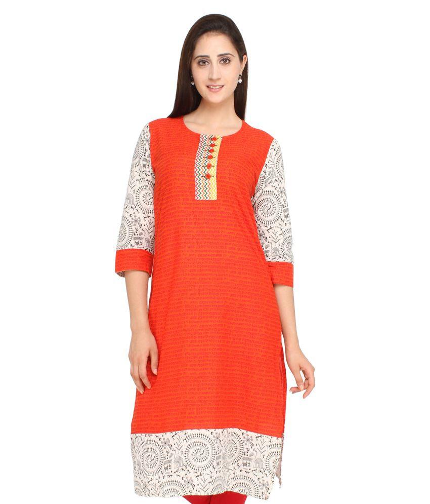 Jashn Traditional Wear Orange Kurti