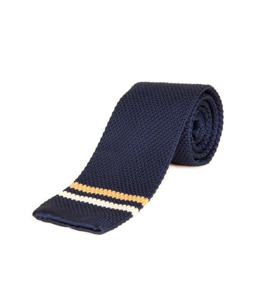 The Vatican Dark Blue Knitted Tie With Two Horizontal Stripes In Orange And White At Tip