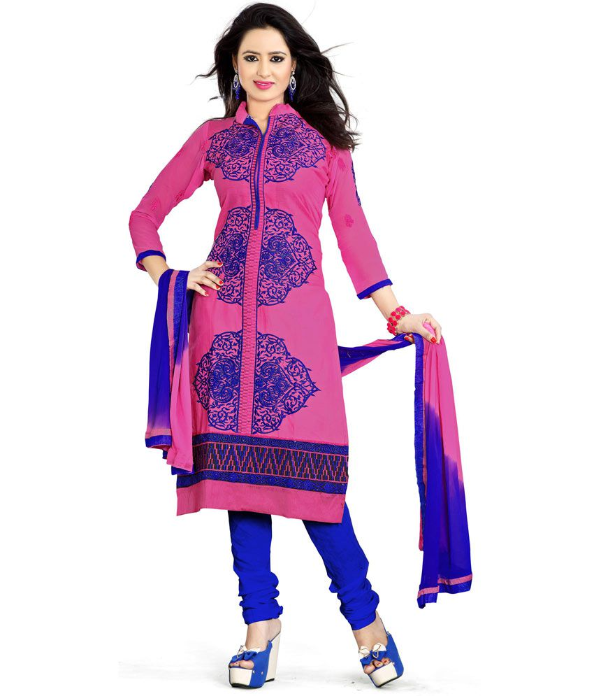 Fashion zone pink embroidered dress material buy