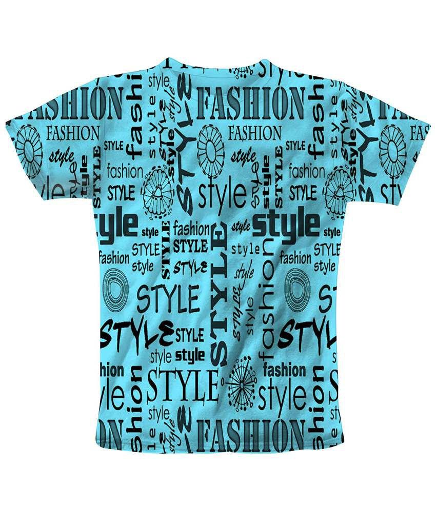 Freecultr Express Elegant Blue & Black Shots Printed T Shirt