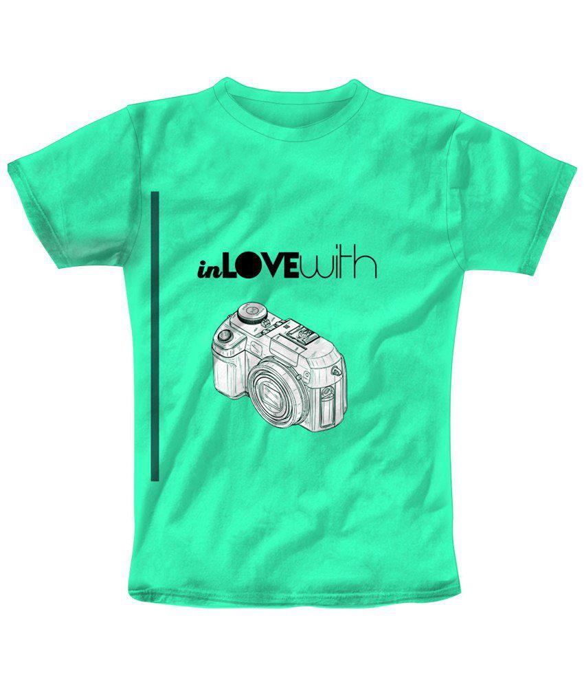 Freecultr Express Elegant Green & White Camera Printed T Shirt