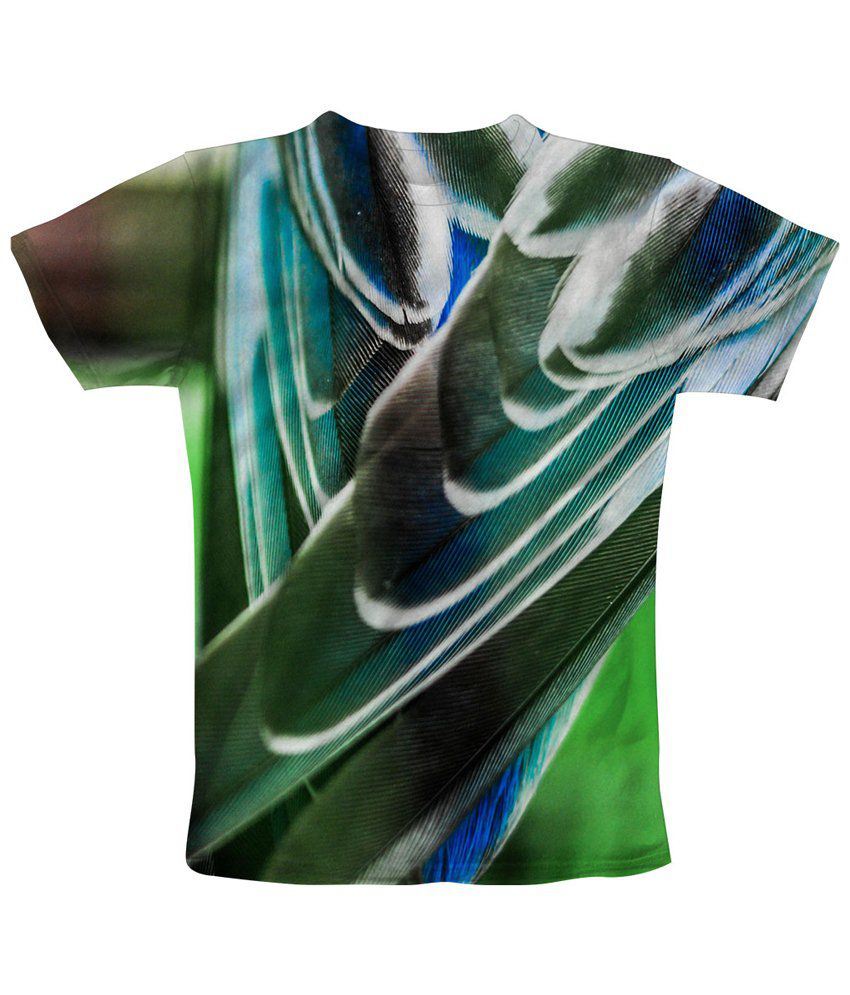 Freecultr Express Green & Blue Feathered Graphic T Shirt