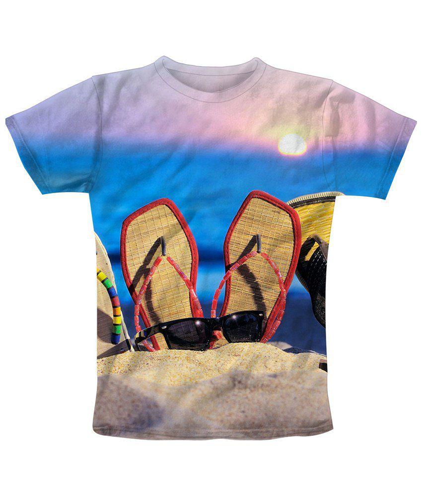 Freecultr Express Impressive Beige & Blue Laze Printed T Shirt