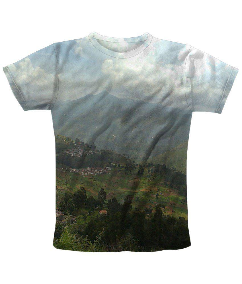 Freecultr Express Sensational Blue & Green Valley View Printed T Shirt