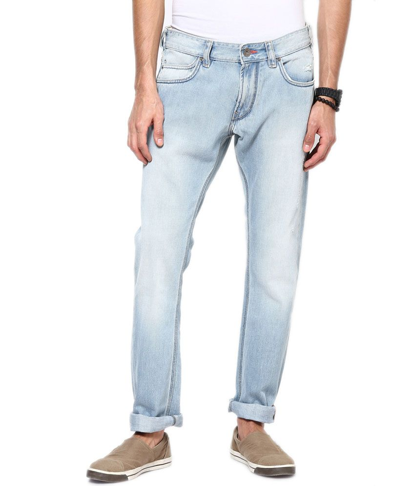 French Connection Light Blue Cotton Slim Fit Faded Jeans