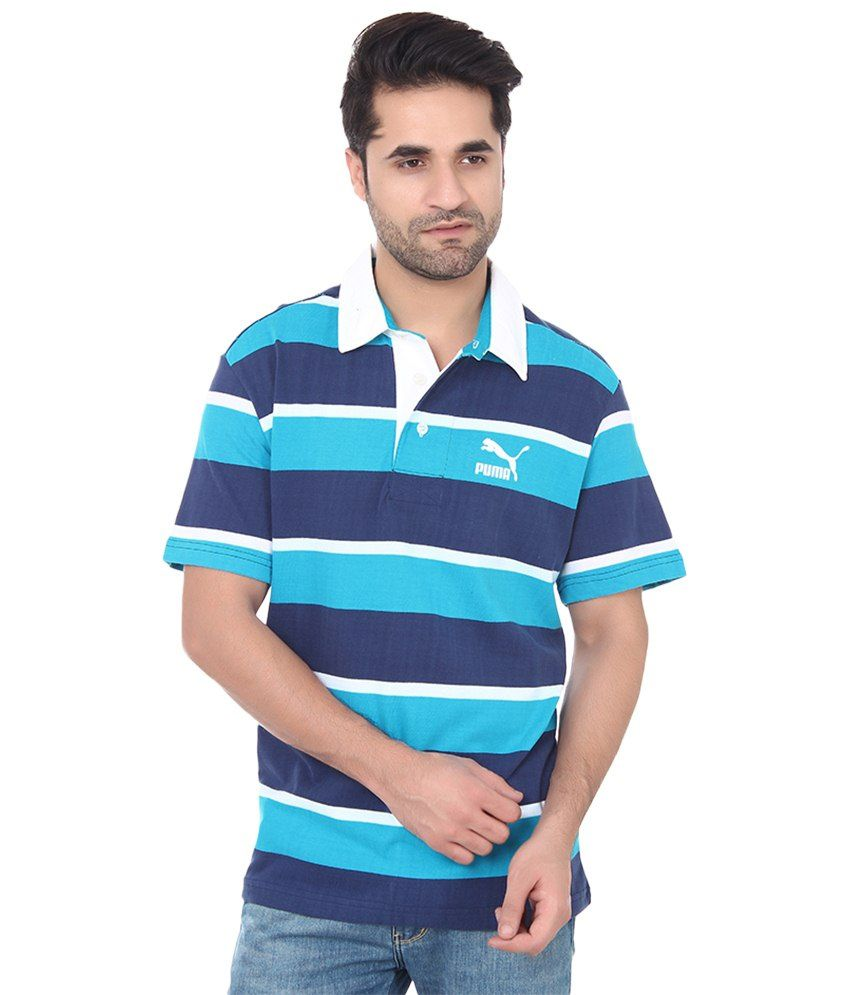 Puma Blue Cotton Polo T-shirts for Men