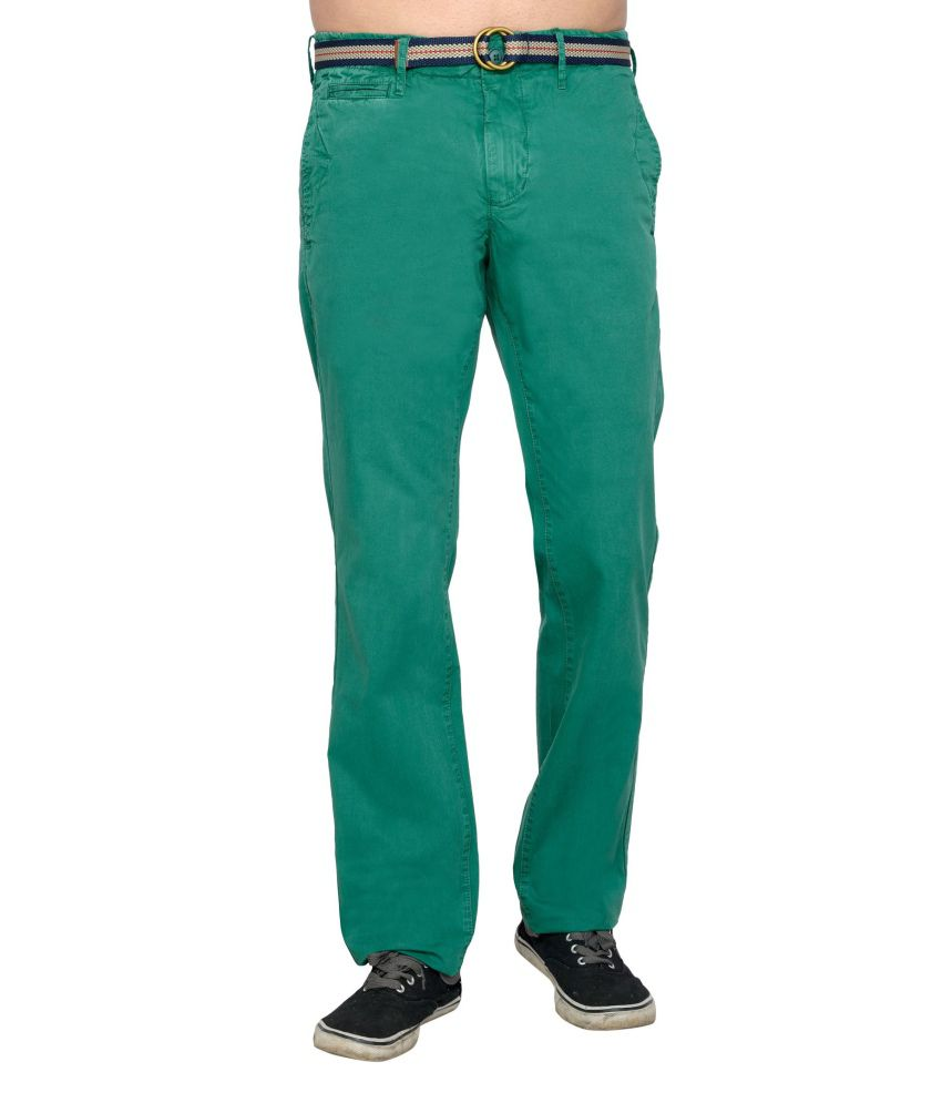 Thinc Green Cotton Casual Chinos