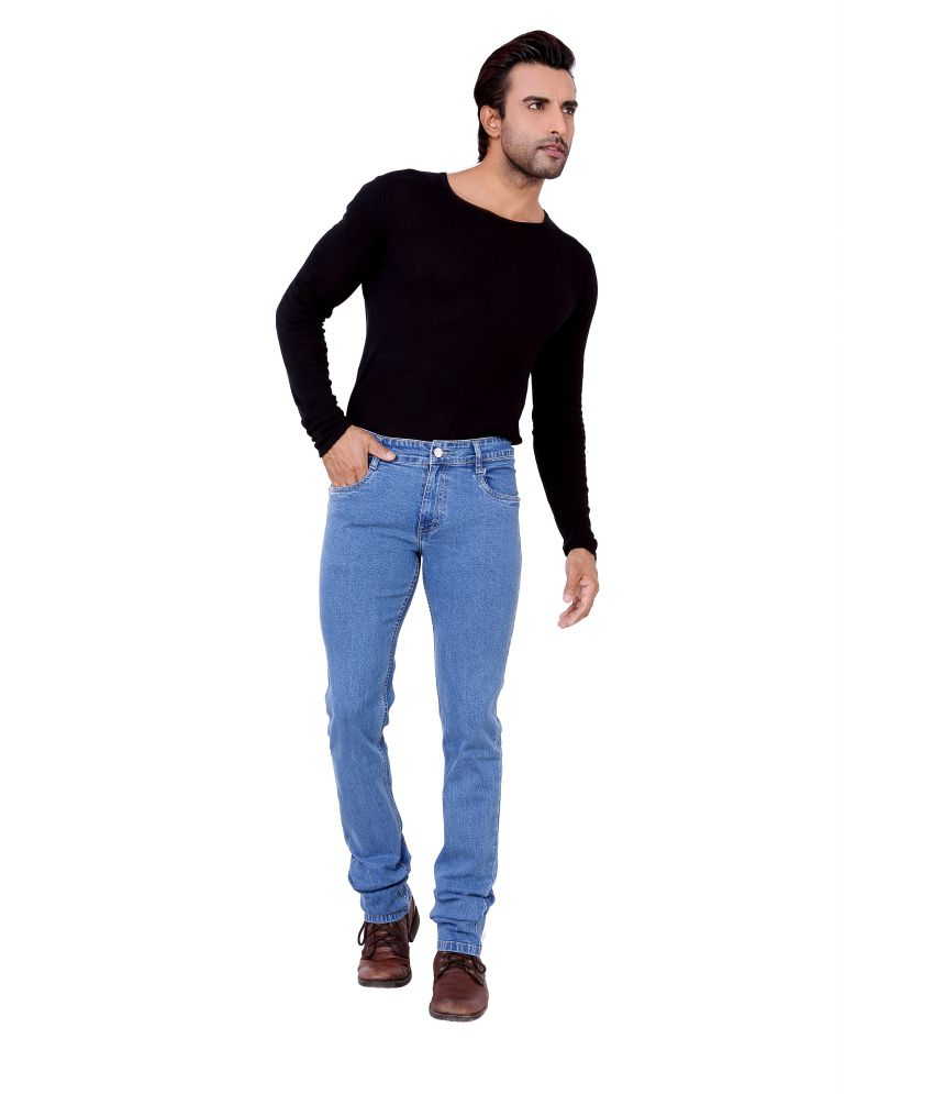 Awack Blue Cotton Relaxed Fit Jeans