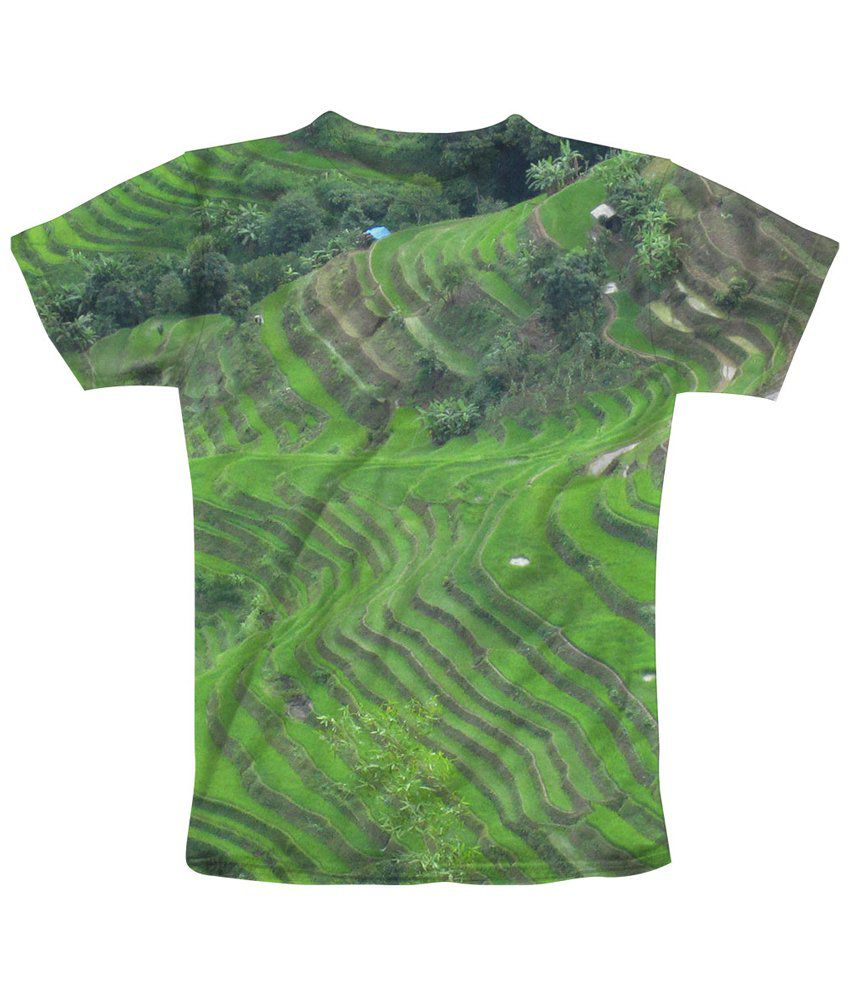 Freecultr Express Green & Gray Steps Graphic Half Sleeves T Shirt
