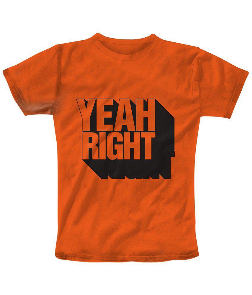 Freecultr Express Orange & Black Yeah Right Half Sleeve T Shirt