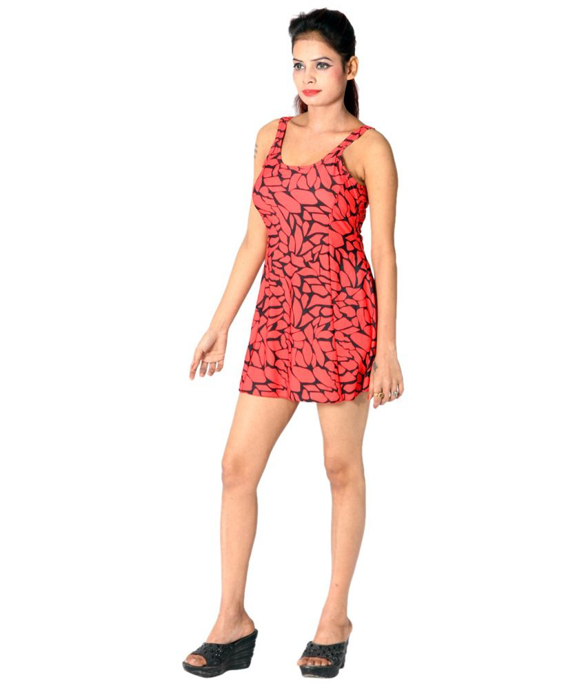Indraprastha Black & Neon Coral Printed Swimsuit/ Swimming Costume