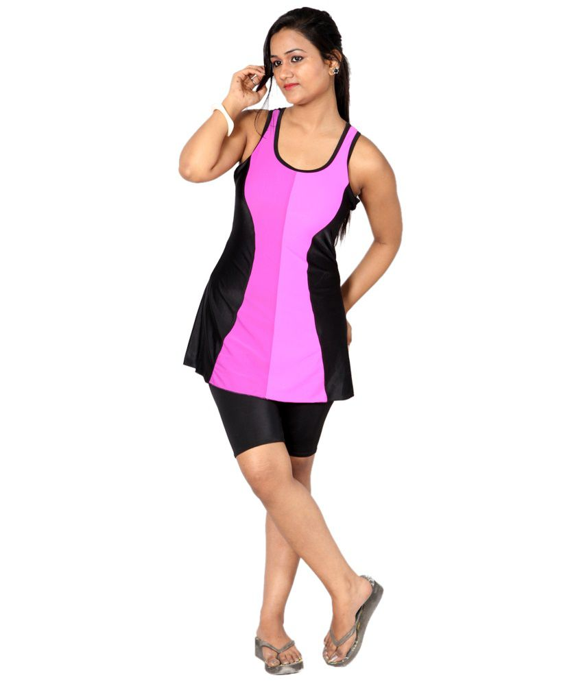 Indraprastha Black & Pink Swimsuit With Extended Shorts/ Swimming Costume