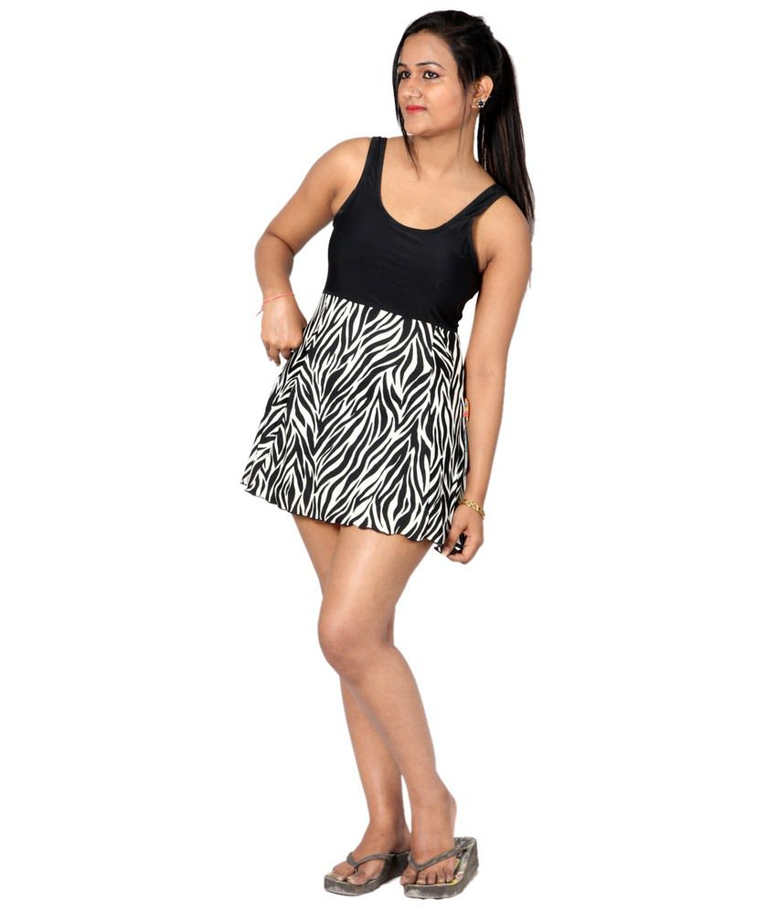 Indraprastha Black & White Zebra Print Swimsuit/ Swimming Costume