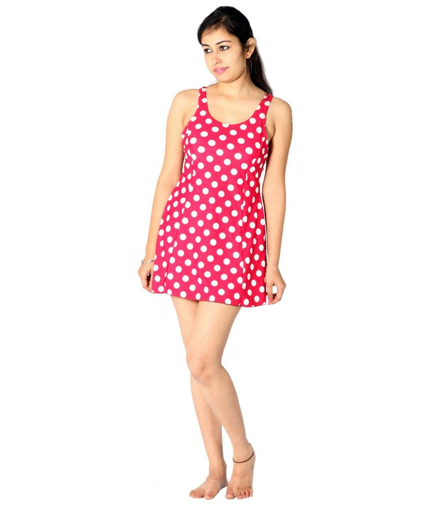 Indraprastha Bright Pink & White Polka Dotted Swimsuit/ Swimming Costume